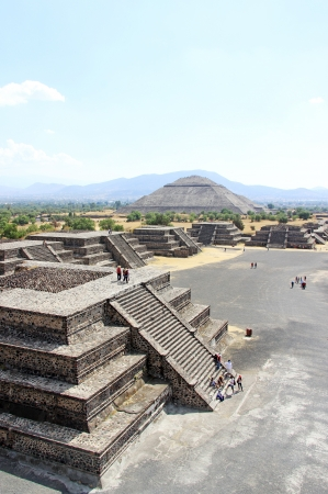 View of the Avenue of the Dead and the Pyramid of the Sun, from the Pyramid of the Moon in Teotihuacan, Mexico photo