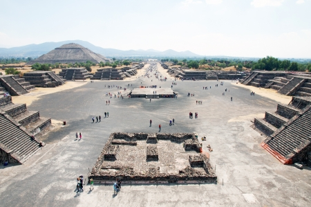pre columbian: View of the Avenue of the Dead and the Pyramid of the Sun, from the Pyramid of the Moon in Teotihuacan in Mexico