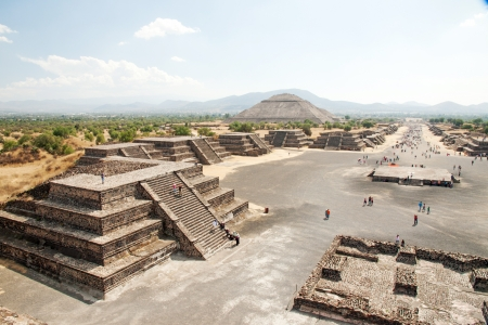 pre columbian: View of the Avenue of the Dead and the Pyramid of the Sun, from the Pyramid of the Moon in Teotihuacan, Mexico