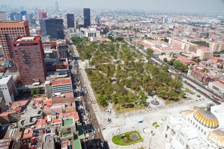 Aereal view of Mexico city and the Palacio of Bellas Artes and the park of Alameda Central