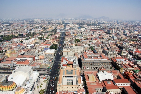 city square: Aerial view of Mexico City with traffic