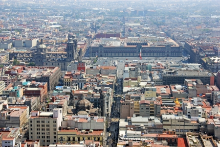 Aerial view of Mexico City wit the Zocalo