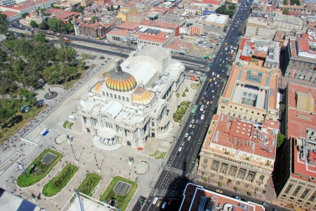 Aerial view of Mexico city and he Palacio de Bellas Artes, pronounced artistic monument by UNESCO in 1987