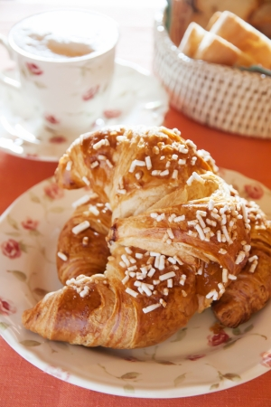 breackfast: Croissant on the table for breackfast time Stock Photo