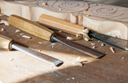 Some tolls for wood used by carpenter photo