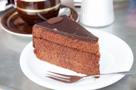 Slice of Sacher torte, a chocolate cake