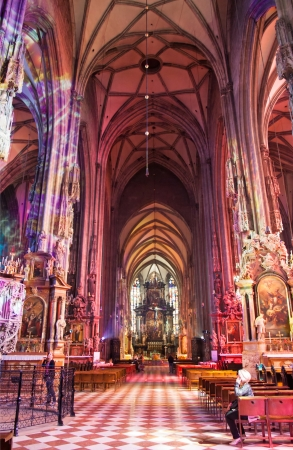 high altar: WIEN, AUSTRIA - MAY 17, 2013  The Stephansdom Cathedral interior It is he most important religious building in Austria