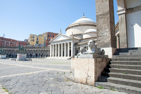 francesco: The architecture of Plebiscito Square in Naples, Italy Stock Photo