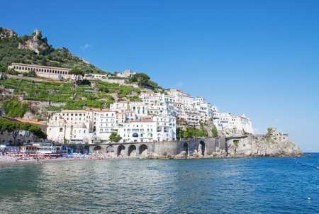 Panoramic view of Amalfi in the Costiera Amalfitana, Italy