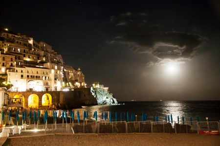 Night view of Amalfi in Italy photo