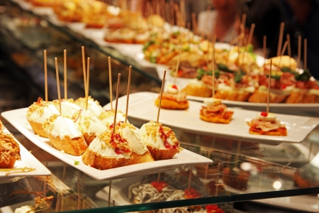 spanish food: Some tapas in a bar in Espana