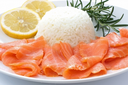 Slice of salmon with rice  photo
