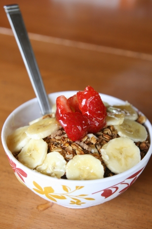 Acai berry bowl with strasberry and banana Stock Photo