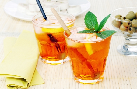 Two italian long drink cocktail  spritz photo