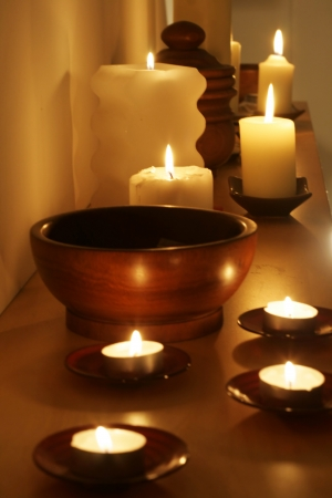 Some candels in a quiet romantic scene photo