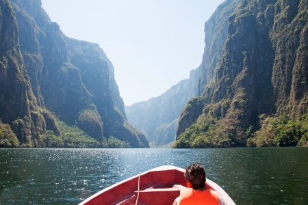 Boat trip in the Sumidero Canyon, Mexico Stock Photo