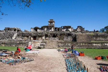 PALENQUE, MEXICO - FEBRUARY 10,2013  The Palenque ruins is a  Maya city state in southern Mexico that flourished in the 7th century  In the site there are many souvenir sellers