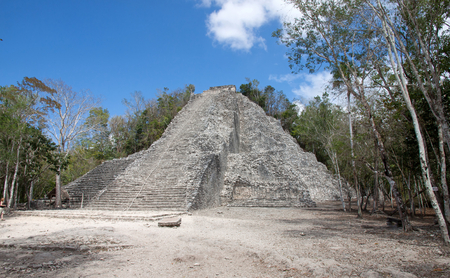roo: Pyramid in Coba ruins, Quintana Roo, Mexico Stock Photo