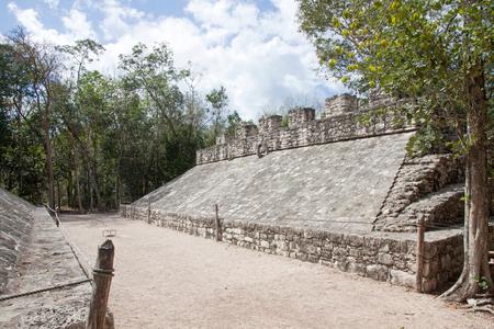 roo: Pelota game in Coba ruins, Quintana Roo, Mexico Stock Photo