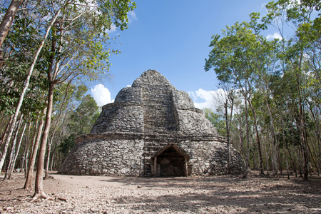 Pyramid in Coba ruins, Quintana Roo, Mexico Stock Photo