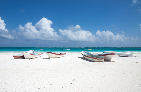 Some boats on the coastside in Tulum, Mexico