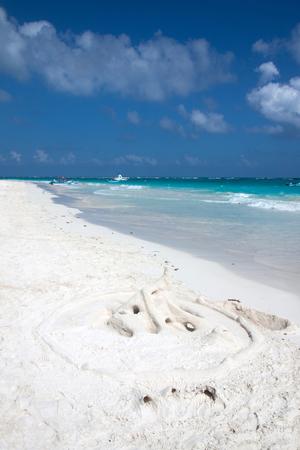 sandcastles: Castle of white sand  on the beach