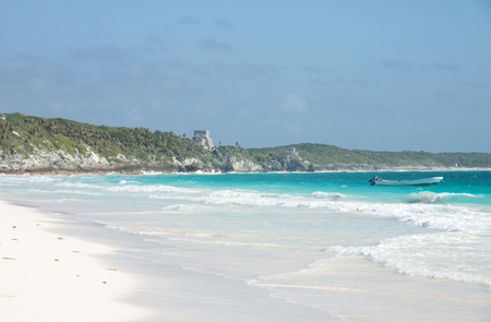 Tulum beach with the mayan ruins on the bacground, Mexico Stock Photo