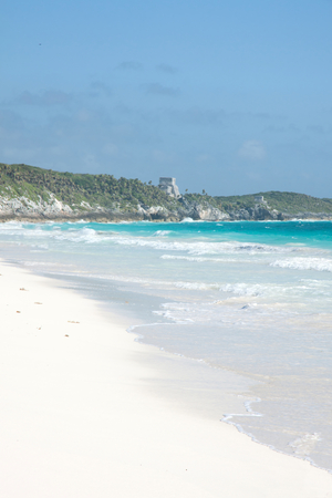 Tulum beach with mayan ruins on the background, Mexico Stock Photo