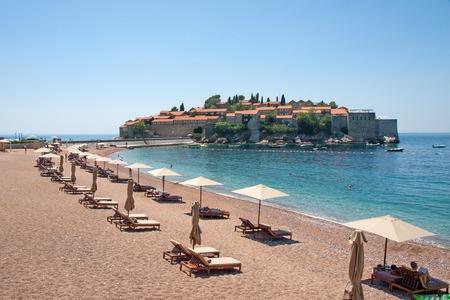 sveti: The Sveti Stefan peninsula and beach, Montenegro
