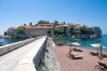 sveti: Sveti Stefan peninsula  and beach in Montenegro
