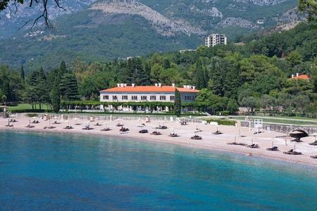 Queen Palace in front of Sveti Stefan, Montenegro