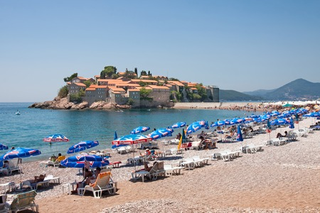 sveti: SVETI STEFAN, MONTENEGRO - JULY 22, 2013  The small exclusive islet of Sveti Stefan with its pink sandy beaches
