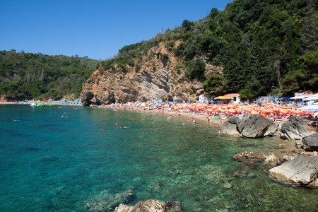 The beach of the old town of Budva in Montenegro