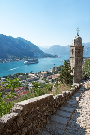 Kotor bay and fjord landscape with cruise ship  photo