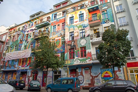 Frierichshain colorful houses in est Berlin, Germany