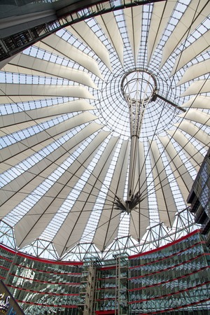 sony: BERLIN - SEPTEMBER 22, 2013: Sony Center complex and roof located at Potsdamer Platz. Sony Center contains mix of shops, restaurants, hotel, IMAX Theater, offices, art and film museums
