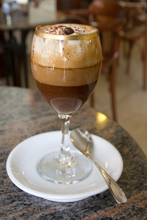 Bicerin, a typical coffe and chocolate with cream drink
