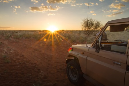 A safari at the sunset with a 4x4 car, Namibia Stock Photo
