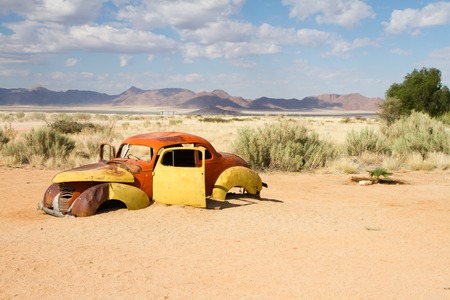 abandoned car: Abandoned car near a service station at Solitaire in the Namib Desert, Namibia.