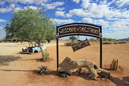 solitaire: Welcome to Solitaire sign, Namibia