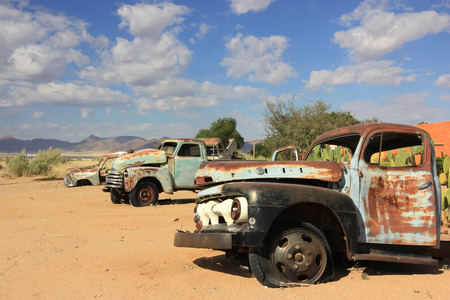 abandoned car: Old abandoned car in the Solitaire Village, Namibia Stock Photo
