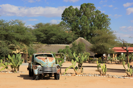 solitaire: Old abandoned car in the Solitaire village, Namibia