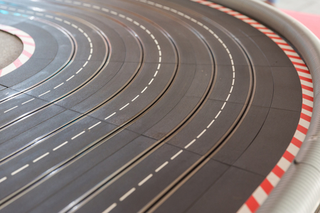 slot car track: A  toy race car track ready for a race