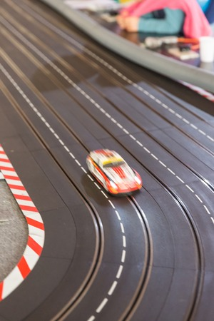 slot car track: A toy race car track ready for a race Stock Photo
