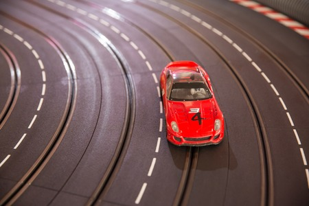 A  toy race car track ready for a race