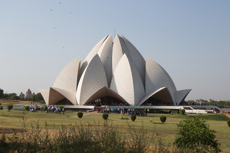 house of worship: New Delhi, India - october 11, 2014: The House of Worship. It is  known as the Lotus Temple due to its Lotus like structure in New Delhi, India. It is open to all, regardless of religion, or any other distinction. Editorial