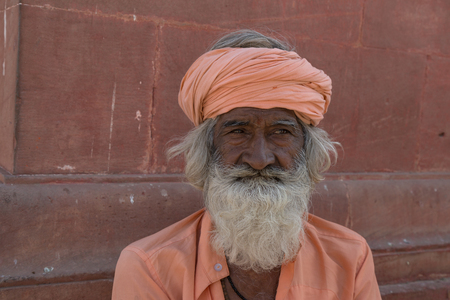 punjab: BIKANER, INDIA - OCTOBER 12, 2015: Unidentified Sikh man with white hair and beard in Bikaner, Rajastan, India. Sikh pilgrims travel from all over India to pray at this holy site. Editorial