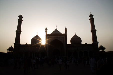 masjid: The sunset in the Jama Masjid mosquee in Delhi, India Stock Photo