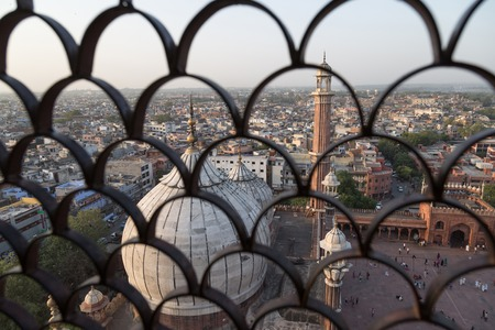jama masjid: Domes of Jama Masjid mosquee and the city of Delhi seen from  the top of a minaret