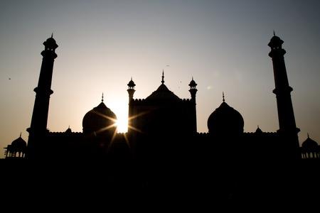 jama masjid: The sunset in the Jama Masjid mosquee in Delhi, India Stock Photo